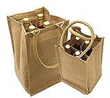 Jute Burlap 4 Bottle Wine Carrier Reusable Jute Wine Tote Bags w/ Dividers (1)