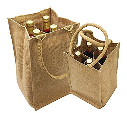 - Jute Burlap 4 Bottle Wine Carrier Reusable Jute Wine Tote Bags w/ Dividers (1)