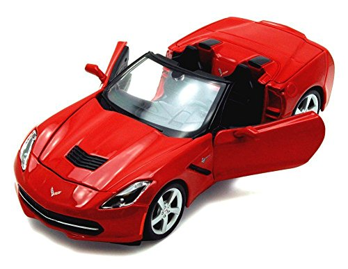 (NEW 1:24 DISPLAY MAISTO COLLECTION - RED 2014 CHEVY CORVETTE C7 CONVERTIBLE Diecast Model Car By Maisto)