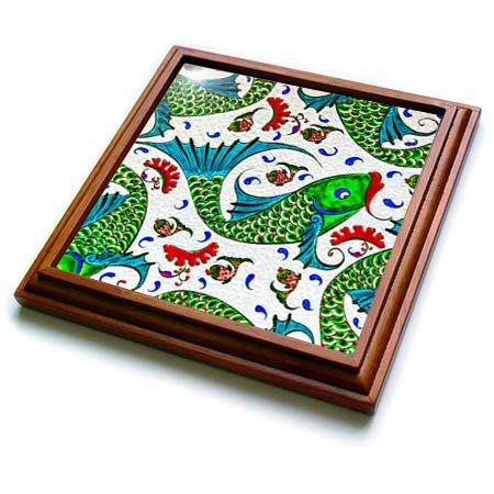 3dRose Danita Delimont - Artwork - Ancient Arab Islamic Fish Designs Pottery Madaba Jordan - 8x8 Trivet with 6x6 ceramic tile (trv_276909_1) by 3dRose