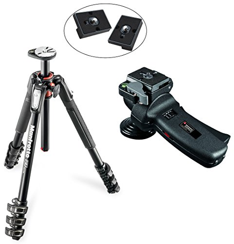 Manfrotto MT190XPRO4 4 Section Aluminum Tripod Kit W/ 322RC2 Grip Action Joystick Head W/ Two Replacement Quick Release Plates for the RC2 Rapid Connect Adapter by Manfrotto