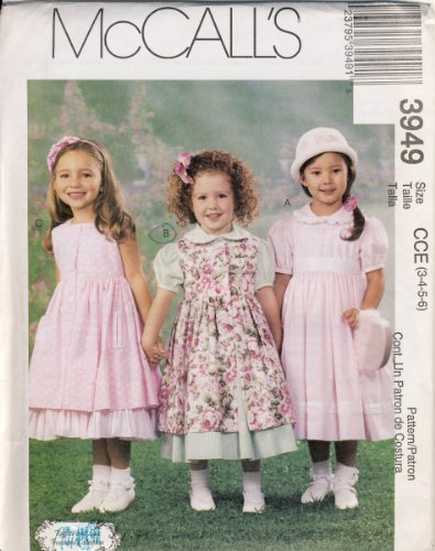 - Girls Dresses, Pinafore and Petticoat Sizes 3-4-5-6 McCall's Pattern 3949 Ruffles and Lace Treasured Collection