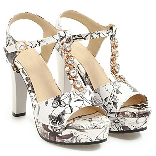 Ancho Slingback Zapatos Plataforma Tacón Mujer RAZAMAZA Sandalias Black tEAHqUxw