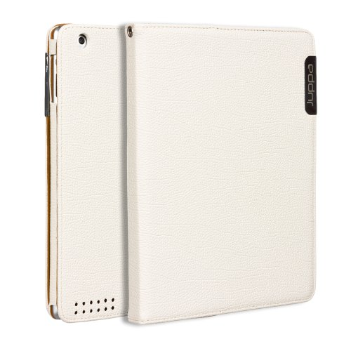 Juppa® Executive Leder Hülle Tasche mit Premium Interieur Leder umfasst Ständer Feature, Kartenhalter, Displayschutzfolie, Tragegurt und Eingabestift Kugelschreiber für Apple iPad 3, 4 - Weiß