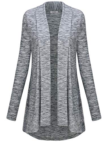 Grey Cardigan, Womens Business Casual Clothes Classy Shawl Neck Open Front Flows Flared Hemline Draped Cardigan Sweaters with Pockets Prime Tunic Tops Plus Size Gray XXL ()