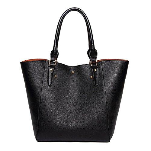 Vintage Handbag Women Pu Leather Handbag Shoulder Bag 2-piece Set Black Bag
