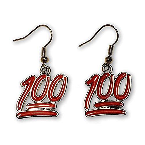 100% Symbol Emoji Dangle Earrings