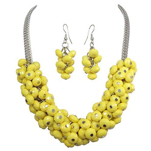 Gypsy Jewels Fun Cluster Beads Silver Tone Bib Statement Necklace & Dangle Earrings Set (Yellow)