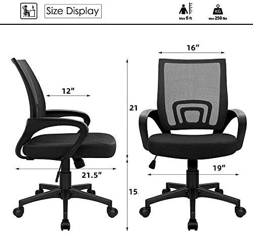 Home Office Desk Chairs For Kids/Teens/Adult Mesh Headrest Backrest Adjustable Swivel Computer Desk Chair, Flip Up Armrests Executive Lumbar Support Armchair