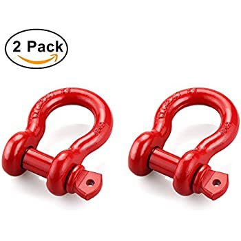 "Shackles 3/4"" (2 PACK) RETECK D ring Shackle Rugged 4.75 Ton (9,500 Lbs) Capacity with 7/8'' Pin Bow Screw Heavy Duty D Ring for Jeep Vehicle Recovery, Red"