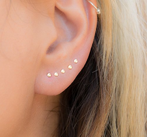 Tiny Dot Stud Earring Multiple piercing Round Ear Jewelry 14k Gold Filled