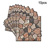 3D Wall Panels Brick Design Wall Sticker, 11.81''x11.81'', 4MM Thickness 3D Texture Touch Feel, Perfect Home Decoration (10 Pcs, Cobble)
