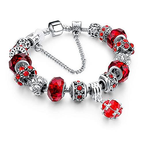 (Long Way Blue Beads Carved Bracelet Sliver Plated Snake Chain Charm Strand Bracelet For Women&Men (Red))
