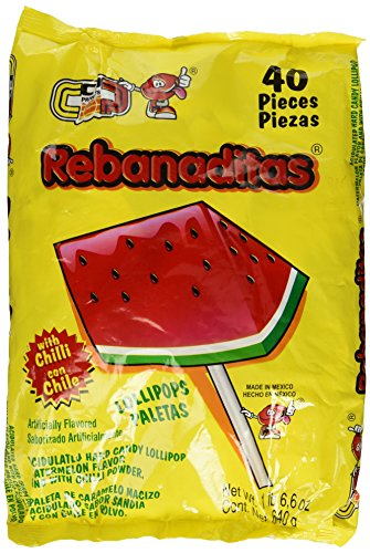 Vero Rebanaditas Paletas Sabor Sandia Hard Candy Chili Covered Lollipops 40 pcs (Mexican Watermelon Suckers)