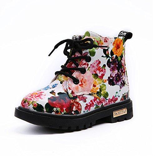 wyhweilong Mädchen Stiefel Blumen Kinder Stiefel Kinder Schuhe Weiß