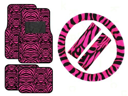 Zebra Floor Mats - 7 Piece Safari Animal Print Automotive Interior Gift Set - 4 Universal Fit Carpet Floor Mats, Universal Fit Steering Wheel Cover, and 2 Seat Belt Shoulder Pads - Hot Pink Zebra