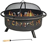 Cheap Sunnydaze 36 Inch Cheers Large Fire Pit with Brushed Metal Finish and Spark Screen