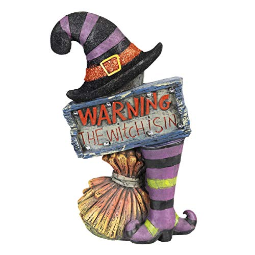 Exhart Marquee Halloween Statue (Metal, Witch Warning Sign)