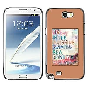 FECELL CITY // Duro Aluminio Pegatina PC Caso decorativo Funda Carcasa de Protección para Samsung Note 2 N7100 // Surf Sun Summer Poster Brown Sunshine