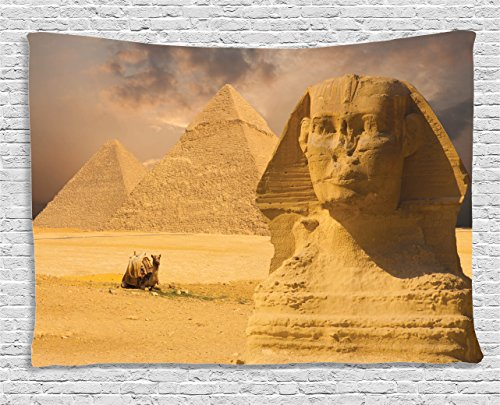 Ambesonne Egyptian Tapestry, The Great Sphinx Face with Other Pyramids in Egypt Old Historical Monument, Wall Hanging for Bedroom Living Room Dorm, 80 W X 60 L Inches, Amber Brown