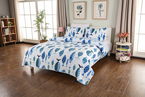 Fish Quilt Set - CozyLand Fashion Blue Fish Printd Pattern Washed Design Ultra Soft Lightweight 3-Piece Patchwork Quilt Set for All Seasons Queen