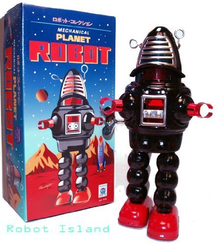 Planet Robot Tin Toy Wind up Robby Black by Schylling