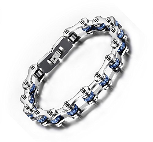 MPRAINBOW Stainless Steel Blue Crystal Biker Chain Motorcycle Link Bracelet Punk Gothic Type,23cm