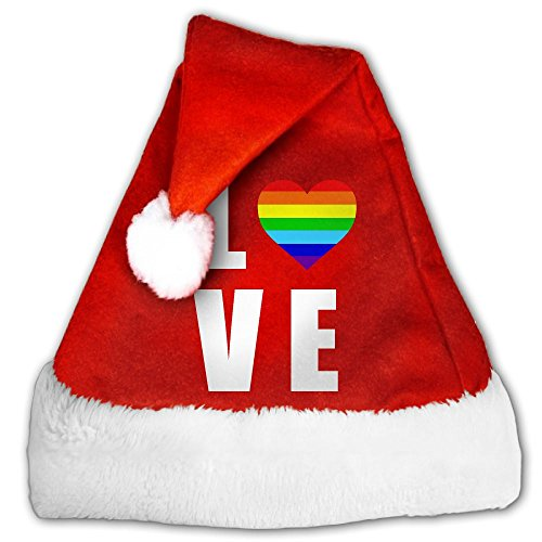 LOCPM LICOPC Santa Cap Rainbow Heart Gay & Lesbian Great For Christmas Parties,perfect For Youth Small
