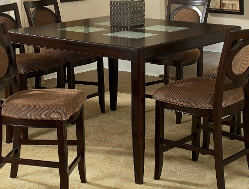 Montblanc Counter Height Table w Cracked Glass Inserts in Merlot