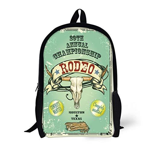 (Pinbeam Backpack Travel Daypack Retro Rodeo Championship Longhorn Skull Ribbon and Text Waterproof School Bag)