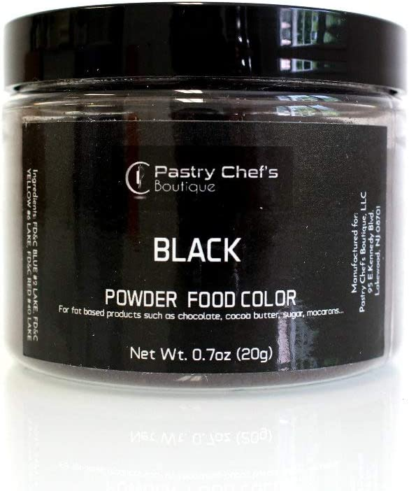 Pastry Chef's Boutique Fat Soluble Powder Food Color - Great for Coloring Chocolate and Cocoa Butter - 1Oz. - Black