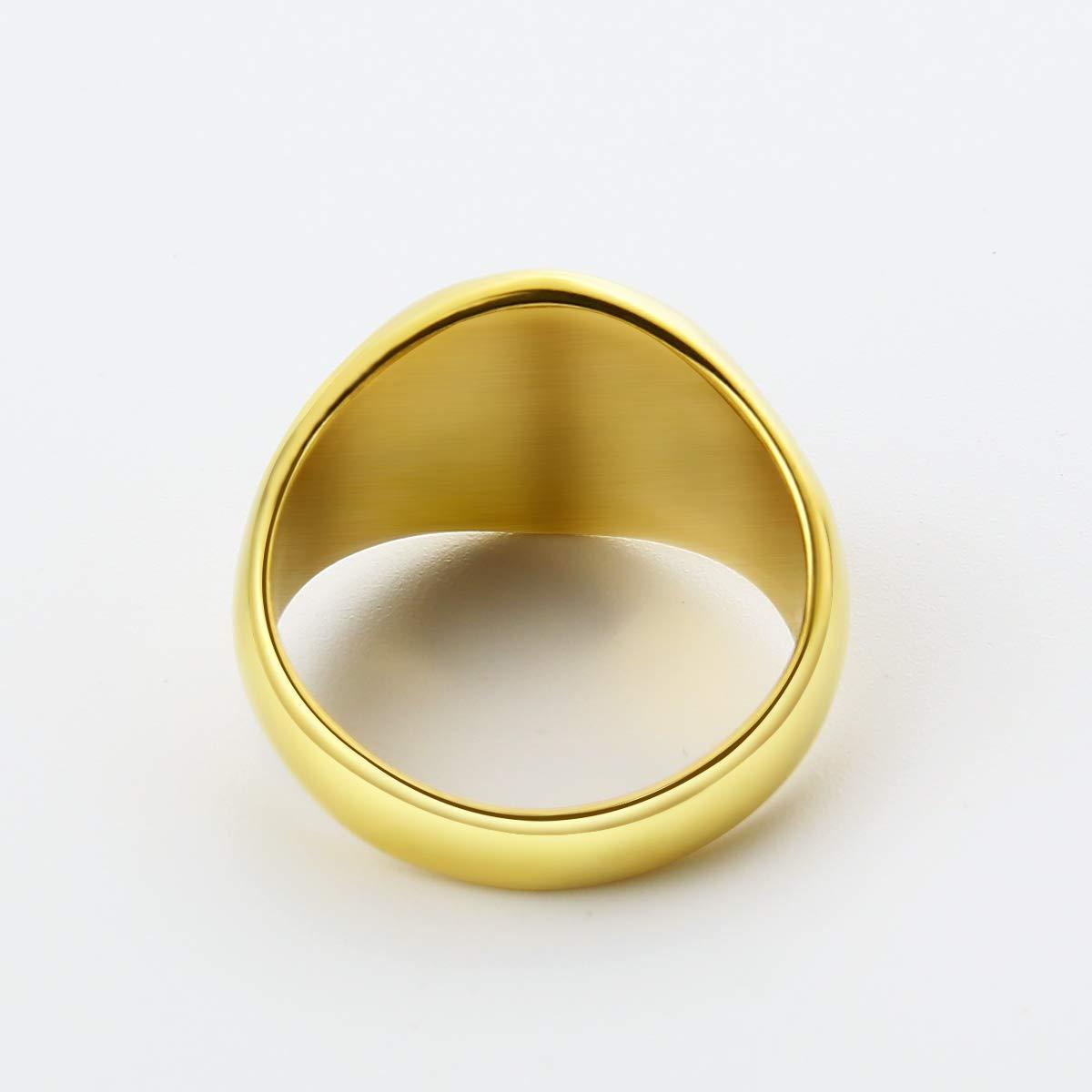 Valily Anillo de Sello Pulido Redondo Acero Inoxidable//Chapado en Oro Regalo Personalizado para Hombre Mujer Talla 10-29.5