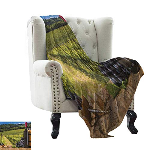 LsWOW Throw Blanket Winery,Red Wine Bottles with Grapes on Timber Board Tuscany Italian Terrace Scenery, Green Blue Brown Warm Blanket for Autumn Winter 50