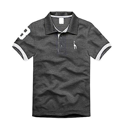TOOGOO (R) NEU Premium K-POP Design Kitz Grund Schlankes POLO T-Shirt - Grau - XXXL