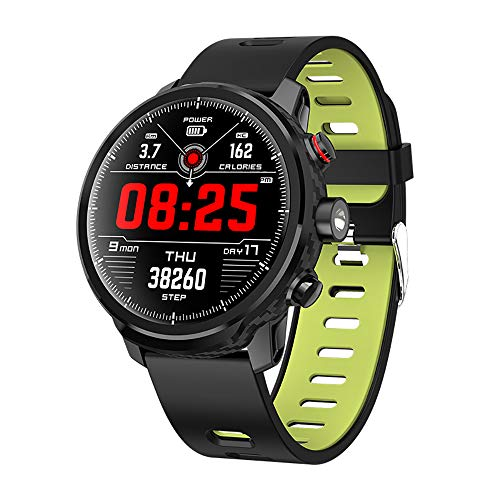 Lee Lam Smart Watch, Full Touch Round Screen Waterproof with Torchlight Watch L5 Touch Screen for Sport Men,Blackgreen ()