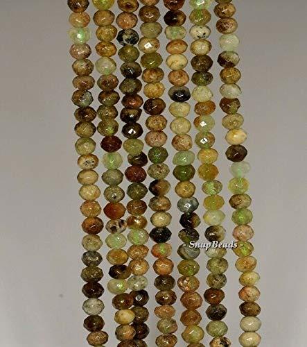 4X3MM Green Garnet Gemstone Green Faceted RONDELLE 4X3MM Loose Beads 16