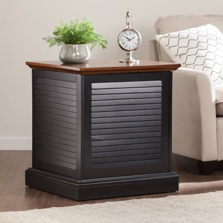 Southern Enterprises Artell Louvered Trunk Wood End Table with 1 Storage - Black