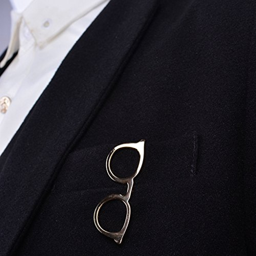 LANDUM 1 Piece Tie Clip for Mens, Men Glasses Tie Bars Pin Clasp for Wedding Business Suit Tie Gift Accessories - Gold by LANDUM (Image #4)