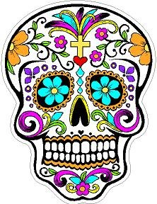 Day of the Dead Decal Rockabilly Rock Vintage Sugar Skull Sticker #6