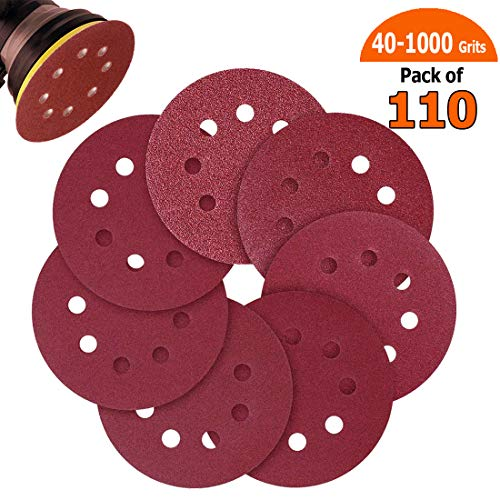 Sandpaper, 110pcs Sand Paper Variety Pack, 5 Inch Hook and Loop Sanding Discs for Wood Furniture Finishing, Metal Sanding, Automotive Polishing, 40 60 80 100 120 240 320 400 600 800 1000 Grits ()