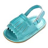 Janly Baby Shoes, Girls Sandals Newborn Infant Summer Tassel Prewalker Flat Shoes, Size 1.5 2 3 UK (6-12 Months, Gold)