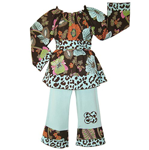 AnnLoren Little Girls 2/3T Boutique Smocked Floral Cheetah set Clothing - Floral Cheetah