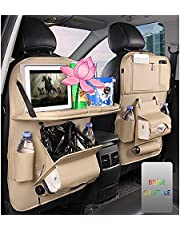 Backseat Car Organizer Wear-resistant Leather Waterproof and Durable Kick Mats Storage Bag Soft Mesh Car Seat Back Organizer 1 Pack