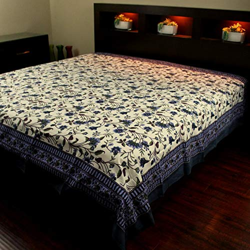 Mikash Cotton Floral Tapestry Throw Tablecloth Bedspread Blue Twin 72x106 inches | Model TBLCLTH - 212 ()