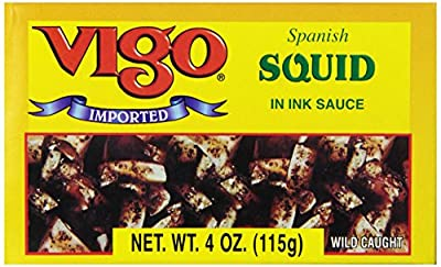 Vigo Squid in Ink Sauce, 4-Ounce Cans (Pack of 10)