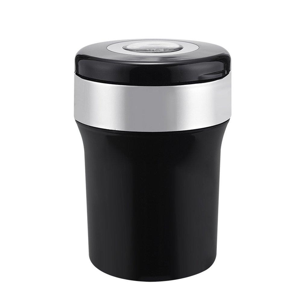 Winomo - Posacenere da auto portatile, universale, senza fumo, con luce LED, colore nero e argento 2879742-5714-1716187531