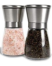 Noosa Life | Salt and Pepper Grinder Set - Premium Stainless Steel | Salt and Pepper Shakers with Adjustable Coarseness | Salt Grinders and Pepper Mill Shaker Mills Set