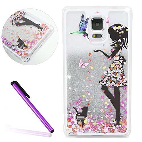 Samsung Galaxy Note 4 Case,LEECO Samsung Galaxy Note 4 Case Glitter Moving Flowing Liquid Floating Moving Hard Protective Case Cover for Samsung Galaxy Note 4 Silver Liquid-Girl wear color - Tortoise Colour A Is What