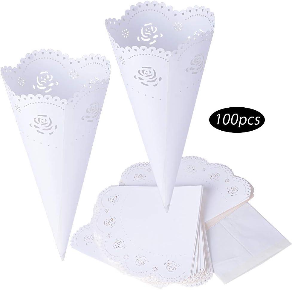 100pcs Conos Papel Arroz Boda Blanco Cucuruchos Petalos Confeti Decoración Boda con Adhesivo de Doble Cara