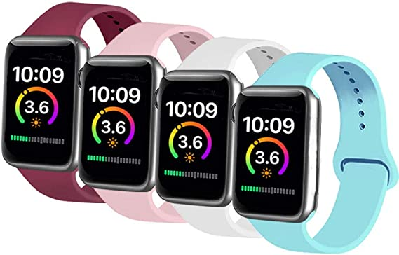 AK Cuatro Correas Compatible con Apple Watch 44 mm 38 mm 42 mm 40 mm, Correa de Silicona Suave de Repuesto para Apple Watch Series 5, Series 4, Series 3, Series 2, Series 1: Amazon.es: Ropa y accesorios